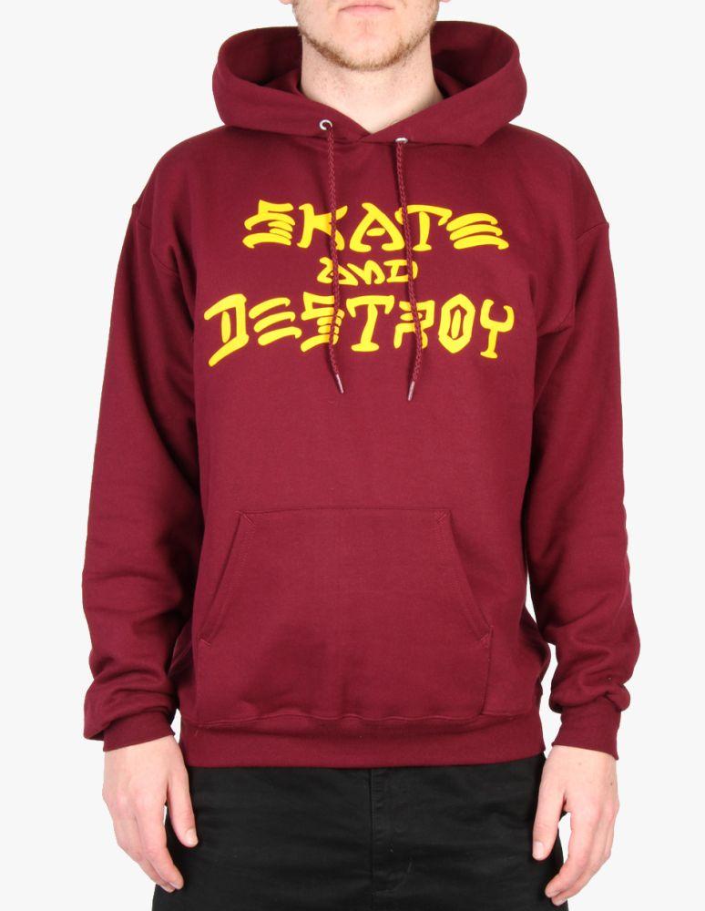 Pánská mikina Thrasher Skate and Destroy Hood maroon First Skateshop.cz 68e38159231