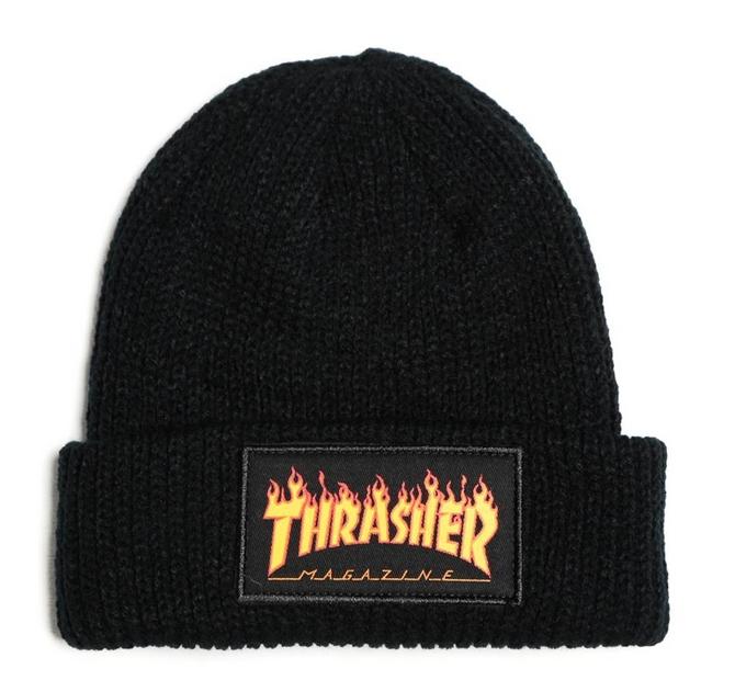Kulich Thrasher Flame logo black First Skateshop.cz cba9bac9ca